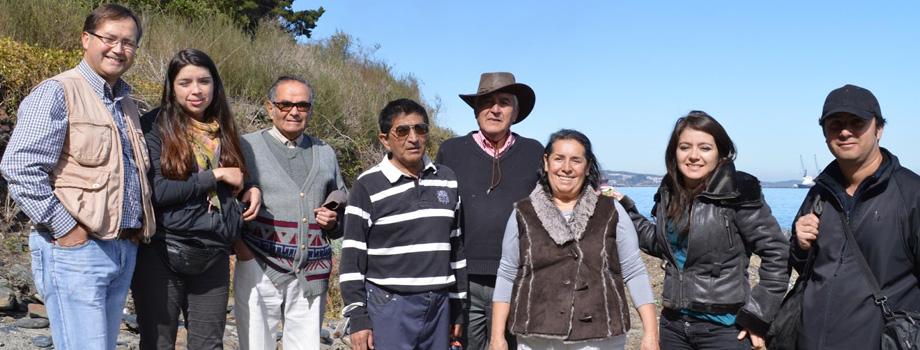Los exploradores de SHP. De izquierda a derecha: Jaime Robles,  Katherine Espinoza, José Vergara, Osvaldo Henríquez, Manuel Suárez, María Cristina Ferrada, Evelyn Elgueta y Duberli Espejo.